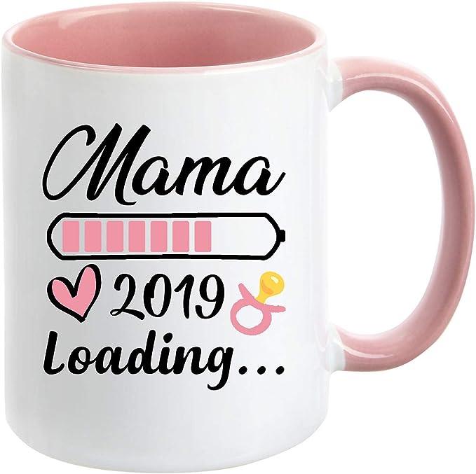 Geschenk-TasseDu wirst Mama 2019 Loading//Lade-balken//Schwangerschaft//Baby//Enkel//Nichte//Neffe//Enkelin//Innen /& Henkel Rot