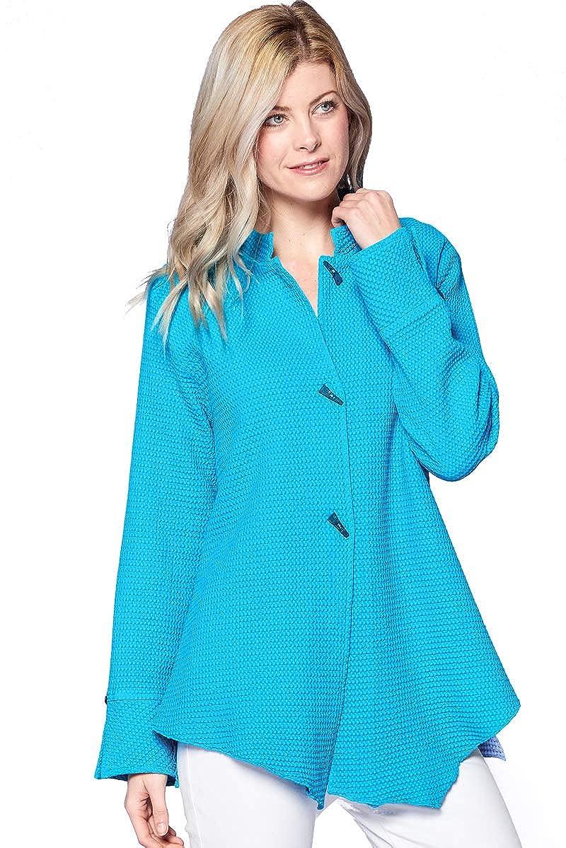 Focus Fashion Cotton Waffle Mandarin Collar Jacket