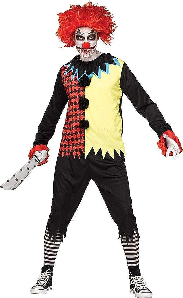 Jester// Clown Costume Child/'s Multi Color 4Pc Top Pants Collar /& Hat Costume
