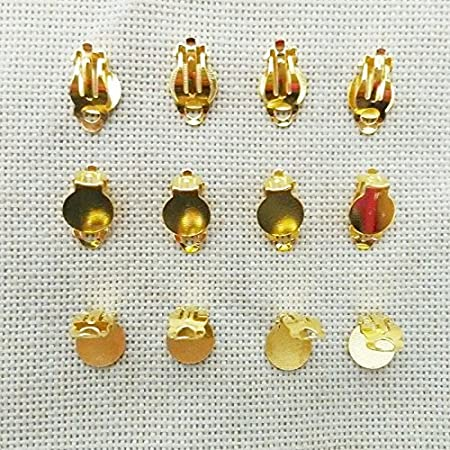 Earrings Findings Screwback Adjustable Clip On No Need Ear Pierced Non Piercing stud Loops Hooks brincos jewelry making Dangle Charms Accessories 20 PCS 10 Pairs kc gold, 17mm