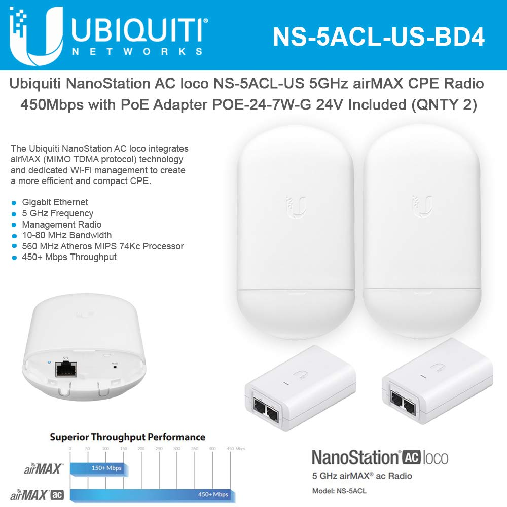 NanoStation AC loco NS-5ACL-US Loco5ac 5GHz 802 11ac airMAX CPE Radio  450Mbps Wireless Access Point (2-Pack) with PoE POE-24-7W-G Included  (2-Pack)