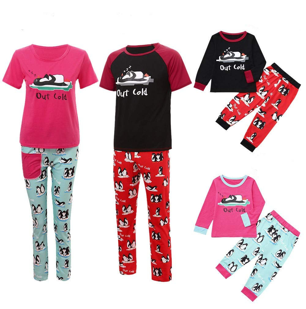 Gufenban Christmas Daddy Letter Short Sleeve Tops+Penguin Panst Family Pajamas Sleepwear Set Clothes(Women-Red,S)