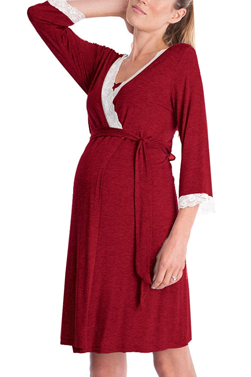 Jumojufol Womens Maternity Nightgowns 3/4 Sleeve Lace Nursing Sleepwear Robe