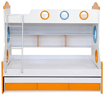 Royal Oak Remo Double Size Bunk Bed White And Orange