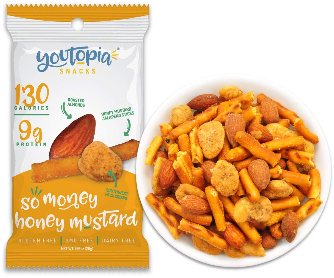 Youtopia Snacks Delicious 130-calorie Snack Packs, High-Protein Low-Sugar Low-calorie Gluten-free GMO-free Healthy Snacks, 1oz Snack Packs (Pack of 10), So Money Honey Mustard by Youtopia