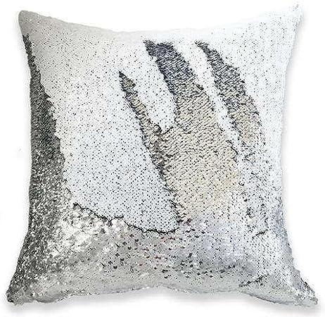 White Silver 16'' Magic Mermaid Pillow