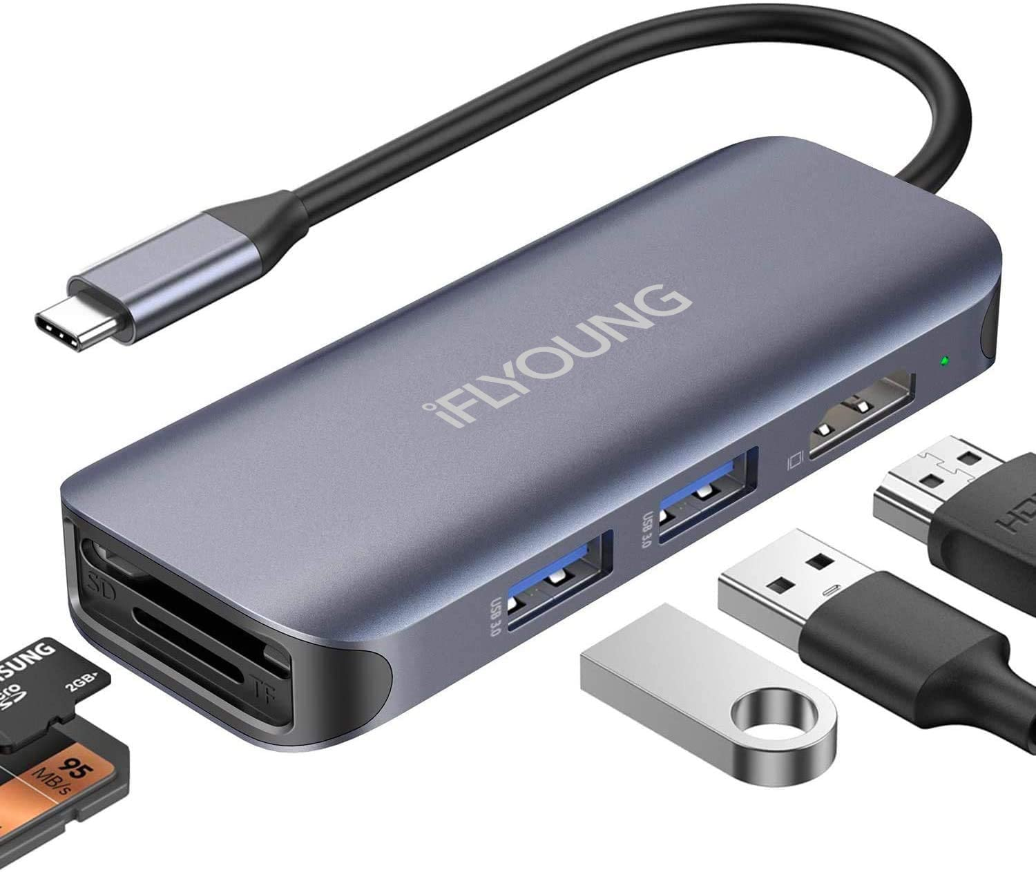 IFLYOUNG USB c hub Docking Station for Apple MacBook pro air13 inch Accessories to hdmi Lightning USB c to 4k hdmi Adapter Dual Monitor USB 3.0 hub Extension SD/TF 6 in 1 Type
