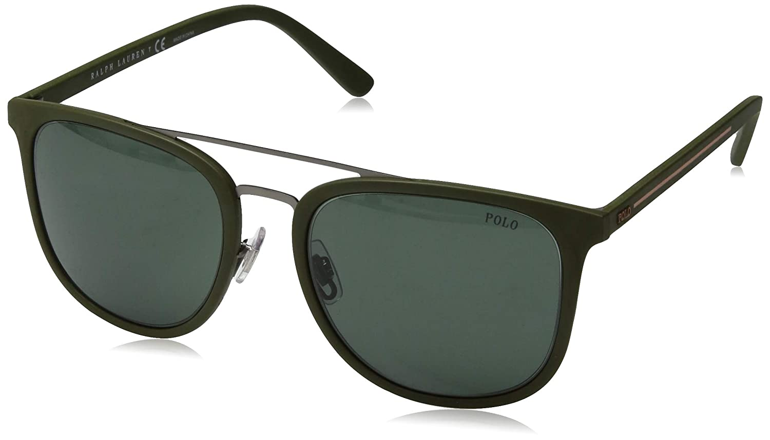 Amazon.com: Gafas de sol Polo PH 4144 521671 Matte GUNMETAL ...