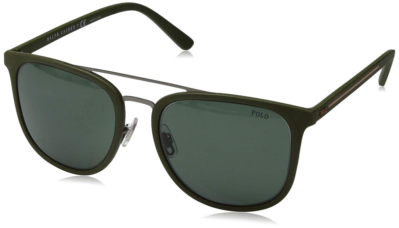 Amazon.com: Gafas de sol Polo PH 4144 521671 Matte GUNMETAL ...