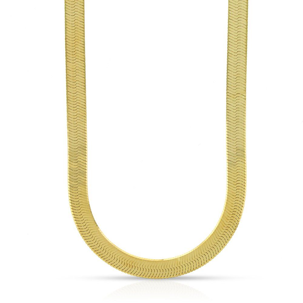 14k Yellow Gold 5mm Imperial Herringbone Chain Necklace 16'' - 24'' (18)