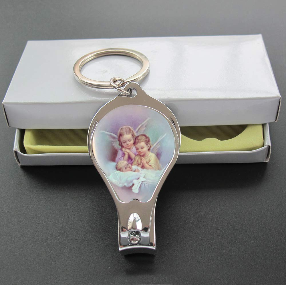 12 Pcs Baby Angel Baptism Keychain with Nail Clipper and Opener Party Favors for Baby Boys and Girls/Bautizo Recuerdos/Gift for Guest/Christening ...