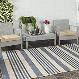 Safavieh Courtyard Collection CYL7062-233A Beige and Blue Indoor/ Outdoor Area Rug (5\' x 8\')