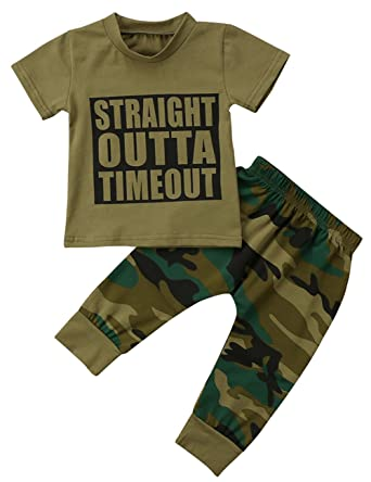 3d446fe1f47 Amazon.com  Baby Boys Girls Camouflage Outfit Army Green Short Sleeve  Letter T-Shirt and Long Pants Set  Clothing