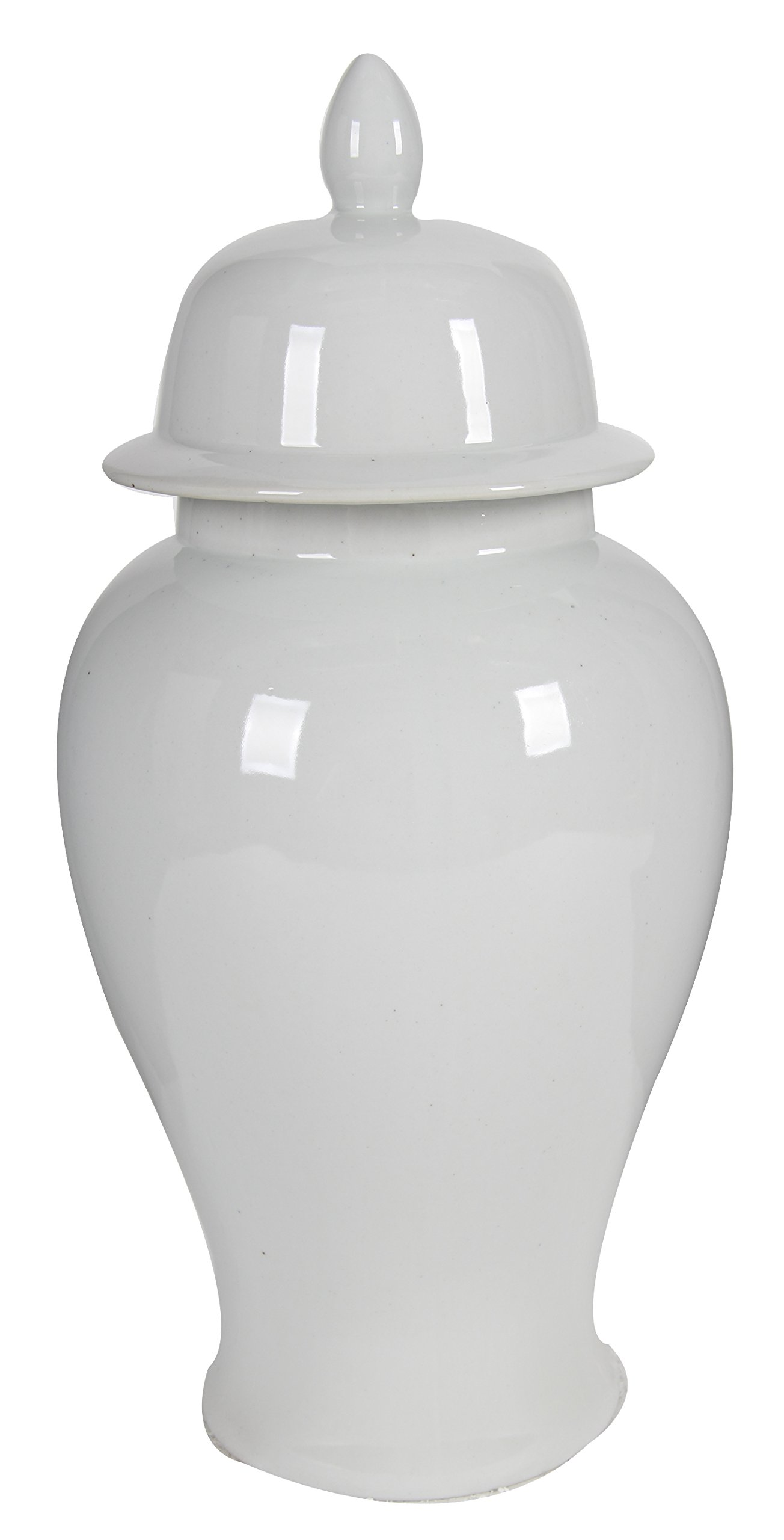 Benzara BM165657 Decorative Porcelain Ginger Jar with Lidded Top, Large, White