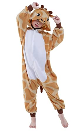 a6301d2f2c5e Amazon.com  Giraffe Onesie Kids Animal Halloween Costume One Piece Pajama  Anime Lounge Wear  Clothing