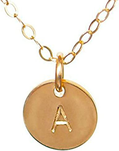 Three Initial Charms Personalized Necklace Gold Filled Hand Stamped Gold Initial Necklace Mother/'s Necklace Hammered Initials Discs
