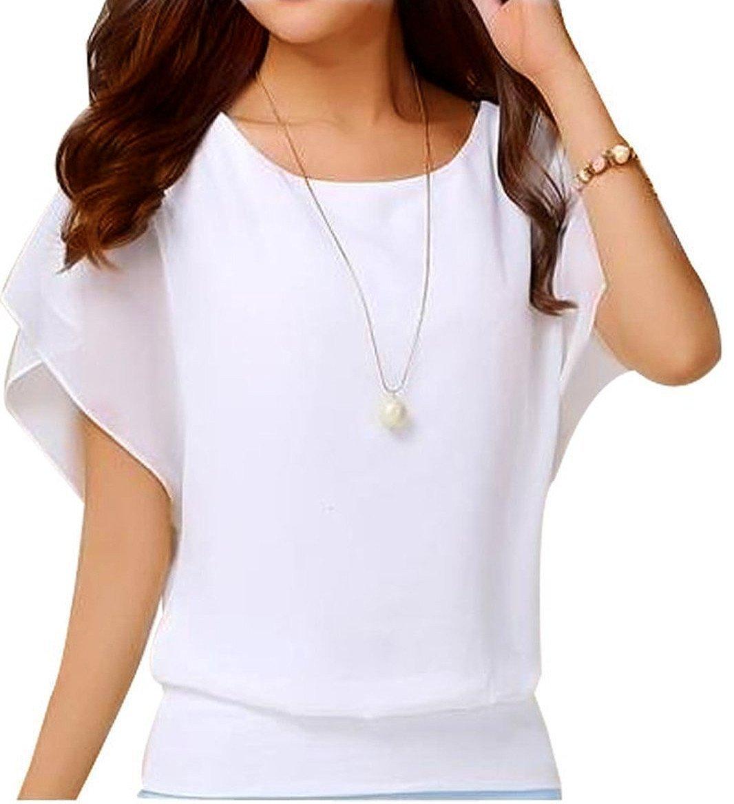 NEINEIWU Ladies Summer Shirt Short Sleeve Batwing Sleeve Round Neck Loose Chiffon Blouse Tops (White M)