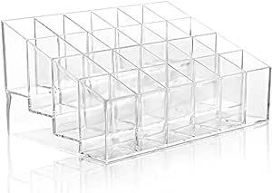 Bullidea 1x Lipstick Storage Box Clear Acrylic 24Lipstick Holder Stand Ladies Cosmetic Make Up Organiser Case