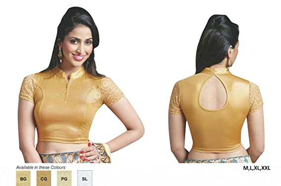 cd967b8cc7258 Amazon.com  Designer Crope Top Women Choli Indian Lycra Stretchable Ready  to Wear Saree Blouse Wedding Party Wear Best Match for Saree By thnic  Emporium  ...