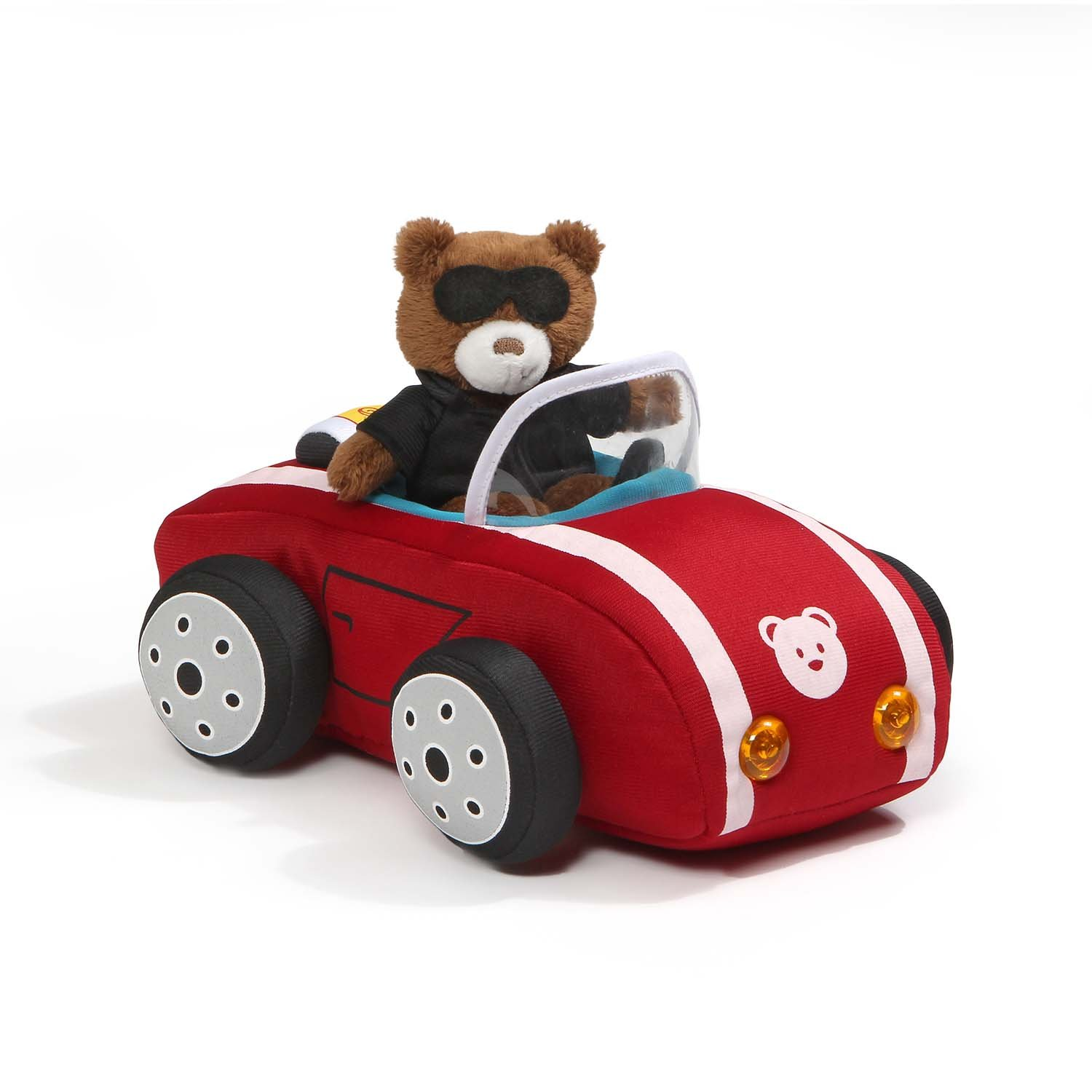 Baby GUND Light and Sounds Sports Car with Teddy Bear Stuffed Animal Plush, 9.5''