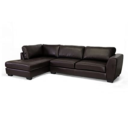Amazon.com: Baxton Studio Orland Leather Modern Sectional Sofa Set ...
