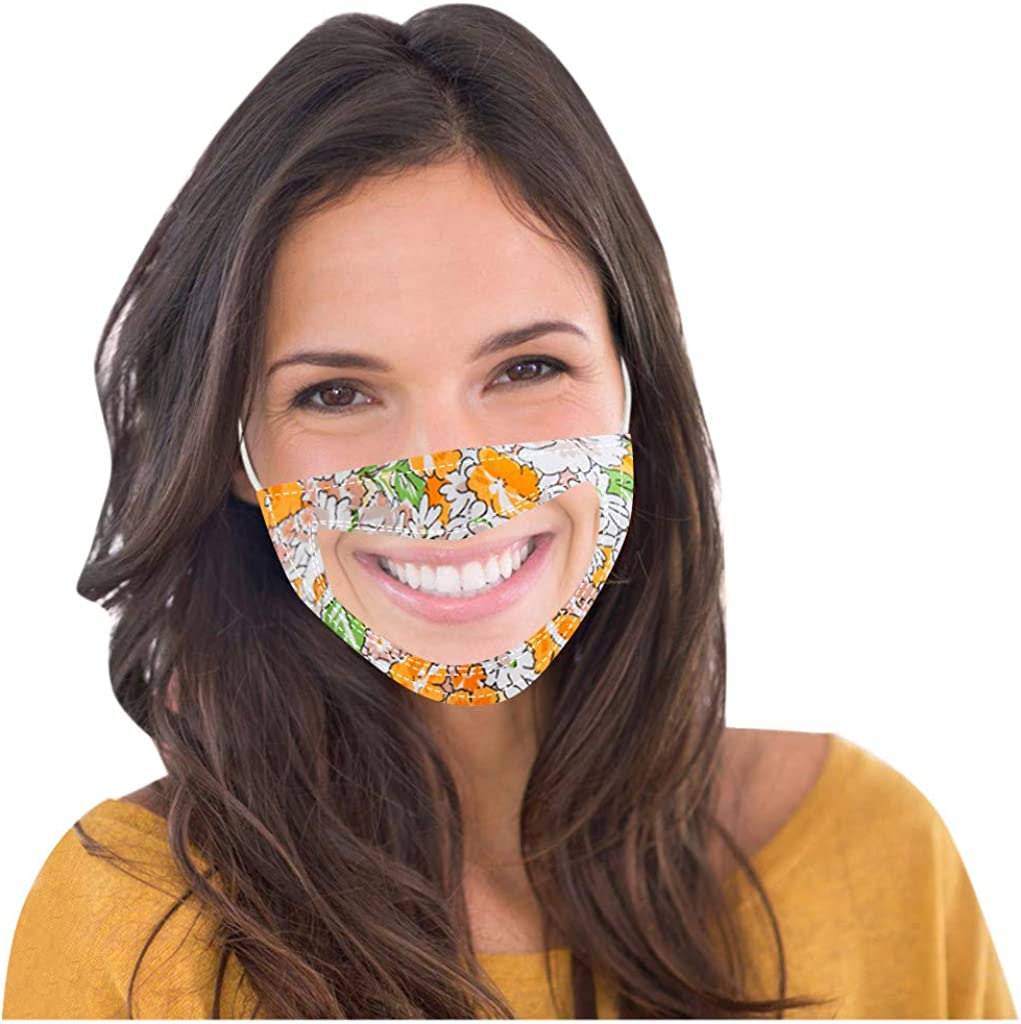 Clear Face Coverings for Deaf, Fashion Printing Mouth Bandanas with Clear Window, Visible Expression