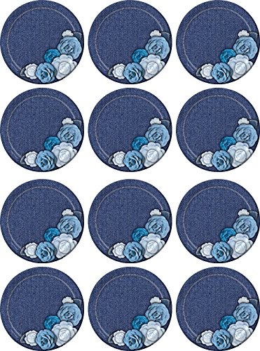 Creative Converting 315434 96Count Sturdy Style Paper Dessert Plates, Denim Floral, Dessert Plate