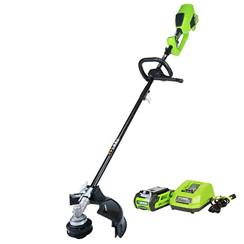 Greenworks 14-Inch 40V Cordless String Trimmer Attachment Capable , 2.0 AH Battery Included 2100702 Renewed