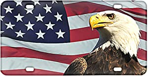American Flag Eagle Car License Plate Cover Novelty Custom Auto Tag Automotive License Plate Covers Vehicle Decorative Gift for Men Women Girls Boys
