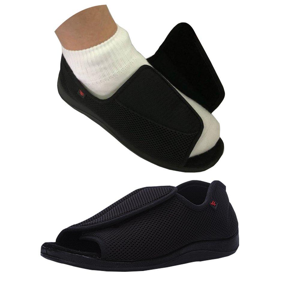 NEPPT Diabetic Shoes Slippers Orthopedic Arthritis Feet Extra Wide Sandals Men (9#, Men-Black) by NEPPT