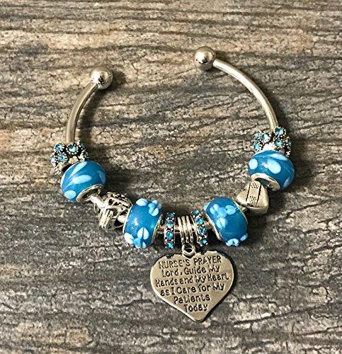 Nurse Prayer Charm Beaded Bracelet, Customized Nursing Jewelry, Nurse Appreciation Gift for Women