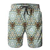 NTK0SKAI Men's Classic Tie Dye Batik Motif With Bizarre Oriental Multiple Icons Board Shorts Relaxed Beach Pants Large