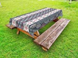 Lunarable Tribal Outdoor Tablecloth, Tribal Mexican Vintage Ethnic Pattern in The Handmade Design Illustration Print, Decorative Washable Picnic Table Cloth, 58 X 84 inches, Pink and Grey