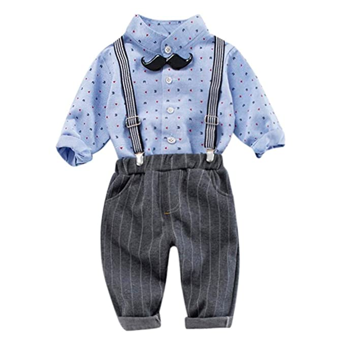 BBestseller Conjuntos Bebé Niño, Ropa Recién Nacidos Bebe Niño 3Pcs Infant Toddler Baby Boys Dot Tops Shirt + Pants + Belt Outfits Pantalón Set Ropa ...