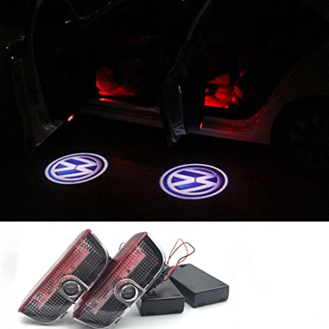 DELEIKA 2pcs LED Welcome Car Light Door Logo Projector lamp Ghost Shadow  Lights for Volkswagen VW - Need to install the battery No Drilling Required
