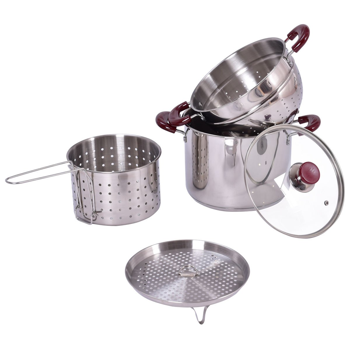 lunanice 5PC Stainless Steel Stock Pot 7-Quart Pasta Cooker Set w/Lid and Steamer Inserts