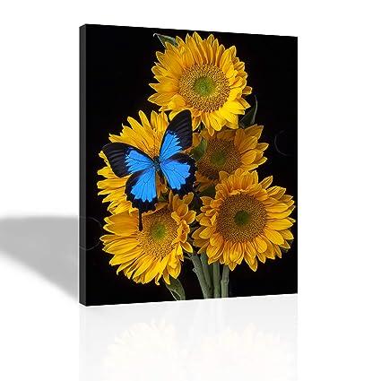 3afaaad4b Purple Verbena Art - (12''x16'' Framed 5 Yellow Sunflowers with
