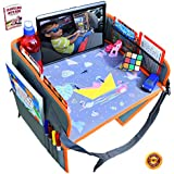 Car Seat Lap Travel Tray for Children by OT Valley | 2 in 1 Convertible Snack and Play Tray and Backseat Car Organizer with Tablet Holder for Toddler Travel Tray