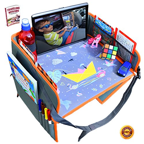 Car Seat Lap Travel Tray for Children by OT Valley   2 in 1 Convertible Snack and Play Tray and Backseat Car Organizer + eBook on Smart Traveling with Children