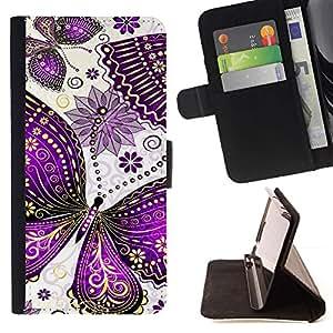 Momo Phone Case / Flip Funda de Cuero Case Cover - Pintura de la mariposa Dibujo minimalista Blanca - HTC DESIRE 816