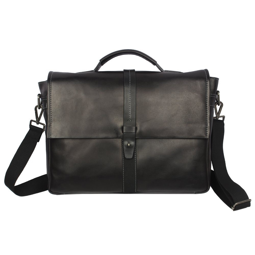 Men's Leather Business Laptop Bag With Flap With Long Handle by Zoa Black by Zoa (Image #1)