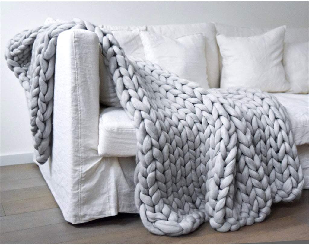 QIMO Chunky Knit Luxury Throw Blanket,Soft Cozy Chenille Bulky Blankets,Warm Soft Cozy Perfect Home Decor for The Bed, Couch, Sofa, Chair, and Living Room