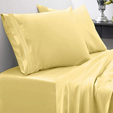1800 Thread Count Sheet Set – Soft Egyptian Quality Brushed Microfiber Hypoallergenic Sheets – Luxury Bedding Set with Flat Sheet, Fitted Sheet, 2 Pillow Cases, Queen, Yellow