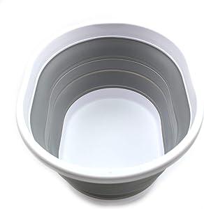 SAMMART Collapsible Plastic Laundry Basket - Oval Tub / Basket - Foldable Storage Container / Organizer - Portable Washing Tub - Space Saving Laundry Hamper (1, Grey)