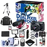 Canon EOS M6 Mirrorless Camera Video Creator Kit w/EF-M 15-45mm Lens, Rode Mic, 32GB SD Card Black - Bundle With Camera Bag, 32GB SDHC Card, Tripod, Video Light, Spare Battery Software Pack And More
