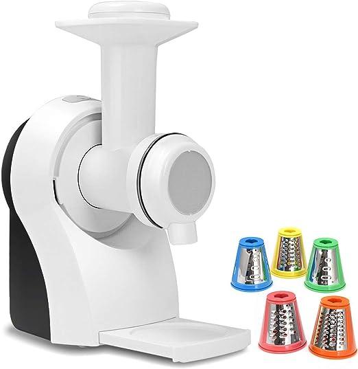 Robot multifunción 3 en 1 cortador de verduras en 5 formas, batidora y prensa cuchillas de acero inoxidable 18 x 13 x 26 cm negro y blanco: Amazon.es: Hogar