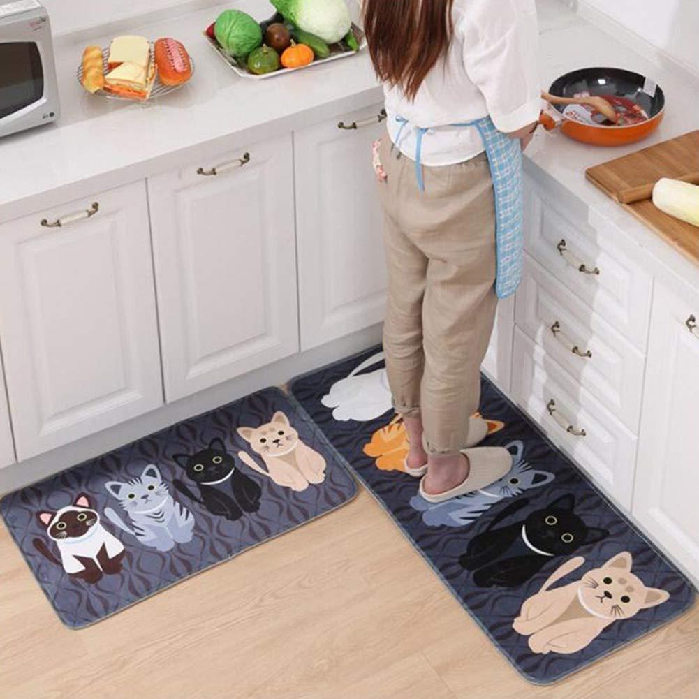 grau rutschfest Seide K/üche Teppich 40x60cm bedruckt f/ür Badezimmer perfekte Wahl f/ür Heimdekoration Teppiche zur Heimdekoration Bodenmatte mit Tiermotiv