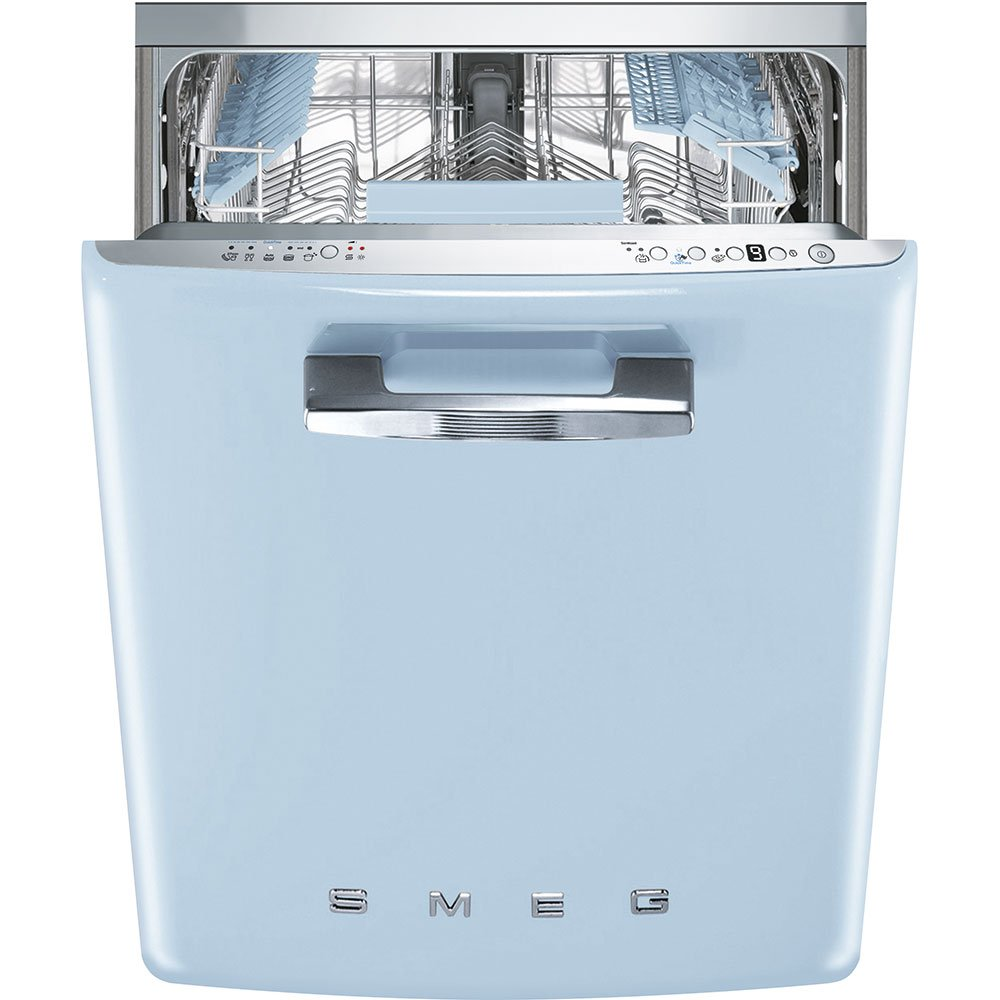 """Smeg 24"""" 50s Retro Style Fully Integrated Dishwasher with 13 Place Settings Full Size Tub 10 Wash Cycles, Pastel Blue"""