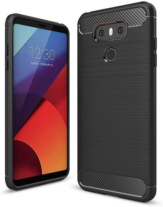 Vultic Carbon Fiber LG G6 Case, Durable [Shock Absorption] Slim TPU Matte Lightweight Thin Bumper Cover for LG G6 (Black)