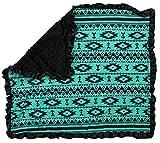 Dear Baby Gear Baby Blankets, Aztec Teal Black, Black Minky
